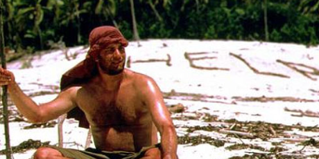 Chuck Noland awaits help on a deserted island