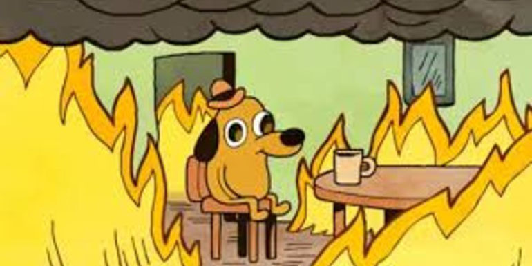 A dog drinking coffee in a burning room will most assuredly be fine (image property of KC Green).