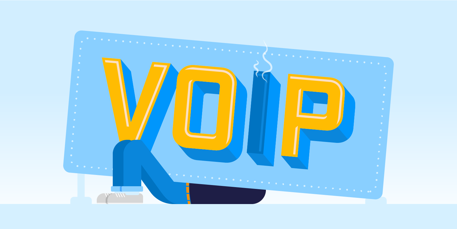 "A person is working underneath a giant sign that says ""voip"" to ensure it is working"