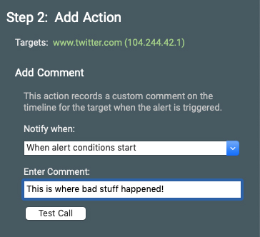 Screenshot of the Add a Comment alert action